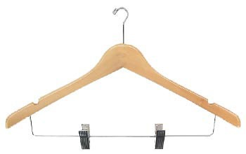 Ladies%27 Contour Suit Wood Hanger w/ Clips, Natural Varnish with Mini Hook, 100/cs