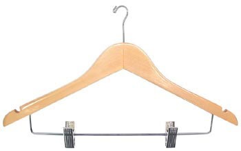 Wholesale Ladies Wood Hook Motel Hangers w/ Clips