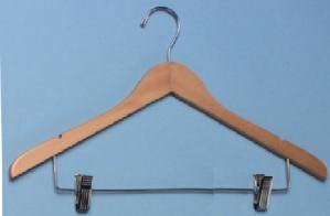 Ladies Contour Suit Wood Hanger w/ Clips, Natural Varnish with Chrome Ball Top, 100/cs
