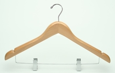 Motel Deluxe Ladies Flat Suit Wood Hanger w/ Clips