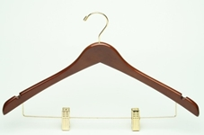 Ladies Wholesale Hangers Wood Hanger Walnut Varnish with Brass Mini Hook, 100/cs