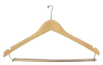Mens Contour Suit Wood Hanger w/ Lock Bar, Natural Varnish with Chrome Mini Hook, 100/cs