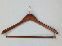 Mens Contour Suit Wood Hanger w/ Lock Bar, Walnut Finish with Brass Mini Hook, 100/cs